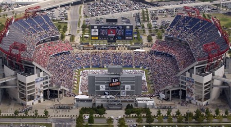 Thousands brave the heat at LP Field, home of the NFL Tennessee Titans, to seek forgiveness and healing for America during The Call July 7 in Nashville.  Photo by Randi Anglin.
