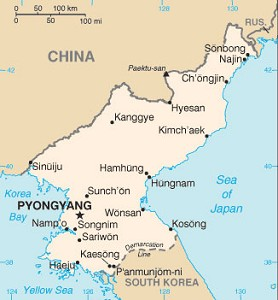 Map of North Korea - Map courtesy of CIA.gov.
