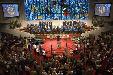 Missionaries hold flags from around the world representing countries they are going to serve. Eighty-four new missionaries were appointed July 17, 2007. More than 1,150 people attended the service at Grove Avenue Baptist Church in Richmond, Va.  Photo by Beth Spain.