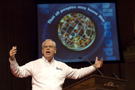 Jerry Rankin, president of the International Mission Board, challenges 84 newly-appointed missionaries to be like the apostle Paul, to have a vision to go to far-off places and a passion for those who have never heard the gospel. The services were held on July 17, 2007, at Grove Avenue Baptist Church in Richmond, Va.  Photo by Beth Spain.