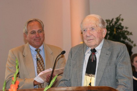 Robert Gee Witty (right), founder of Luther Rice Seminary, was honored last October for his 100th birthday by pastor Bill Yeldell and the congregation of Mandarin Baptist Church in Jacksonville, Fla.  Photo by James A. Smith Sr..